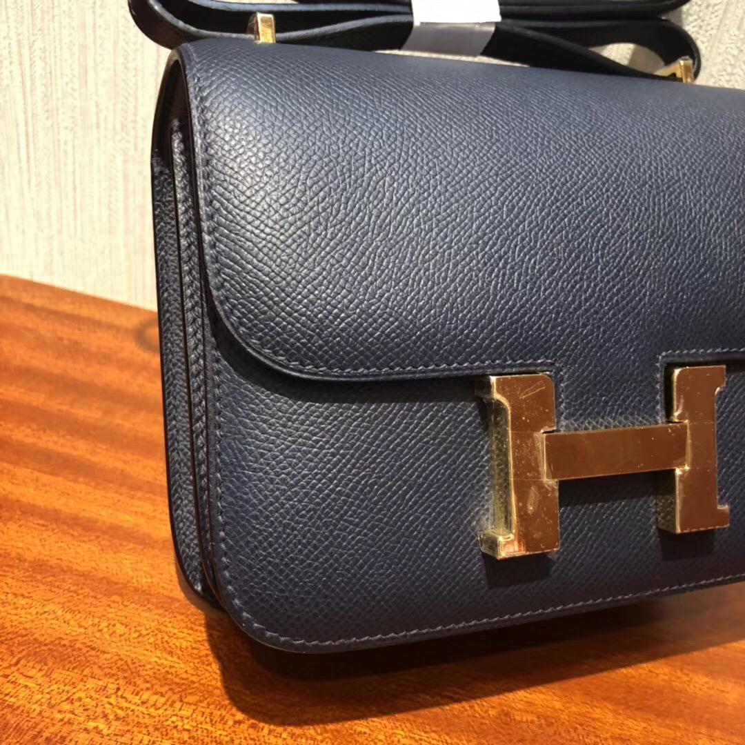 愛馬仕康康空姐包尺寸 Hermes Constance CC67深海藍18cm 金扣Epsom手掌紋
