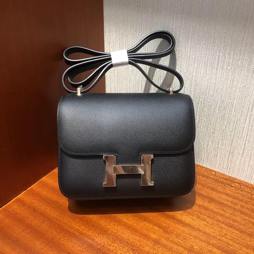 愛馬仕康康 空姐包 Hermes Constance CK89黑色 18cm Epsom 玫瑰金扣