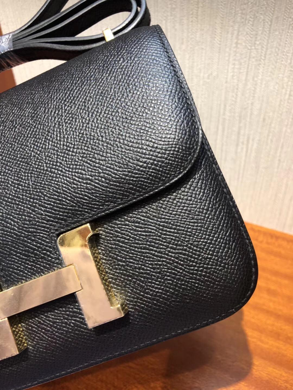 愛馬仕康斯坦斯包哪個尺寸最好 Hermes空姐包19/24 CK89黑色 手掌紋Epsom 金扣