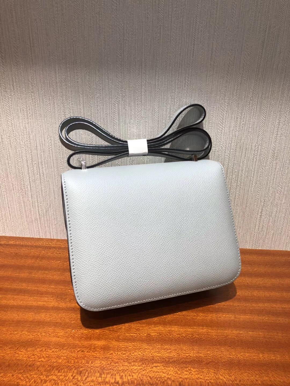 愛馬仕包包 空姐包價格 Hermes Constance 8u冰川藍18cm Epsom手掌紋銀扣