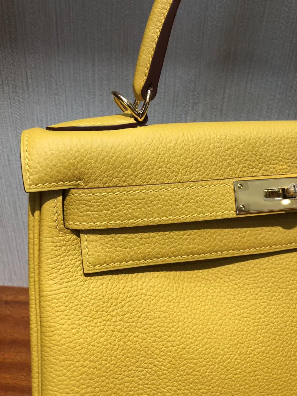 愛馬仕包包官網 圖片價格 凱莉包 Hermes Kelly 9D琥珀黃 Togo 28cm金扣
