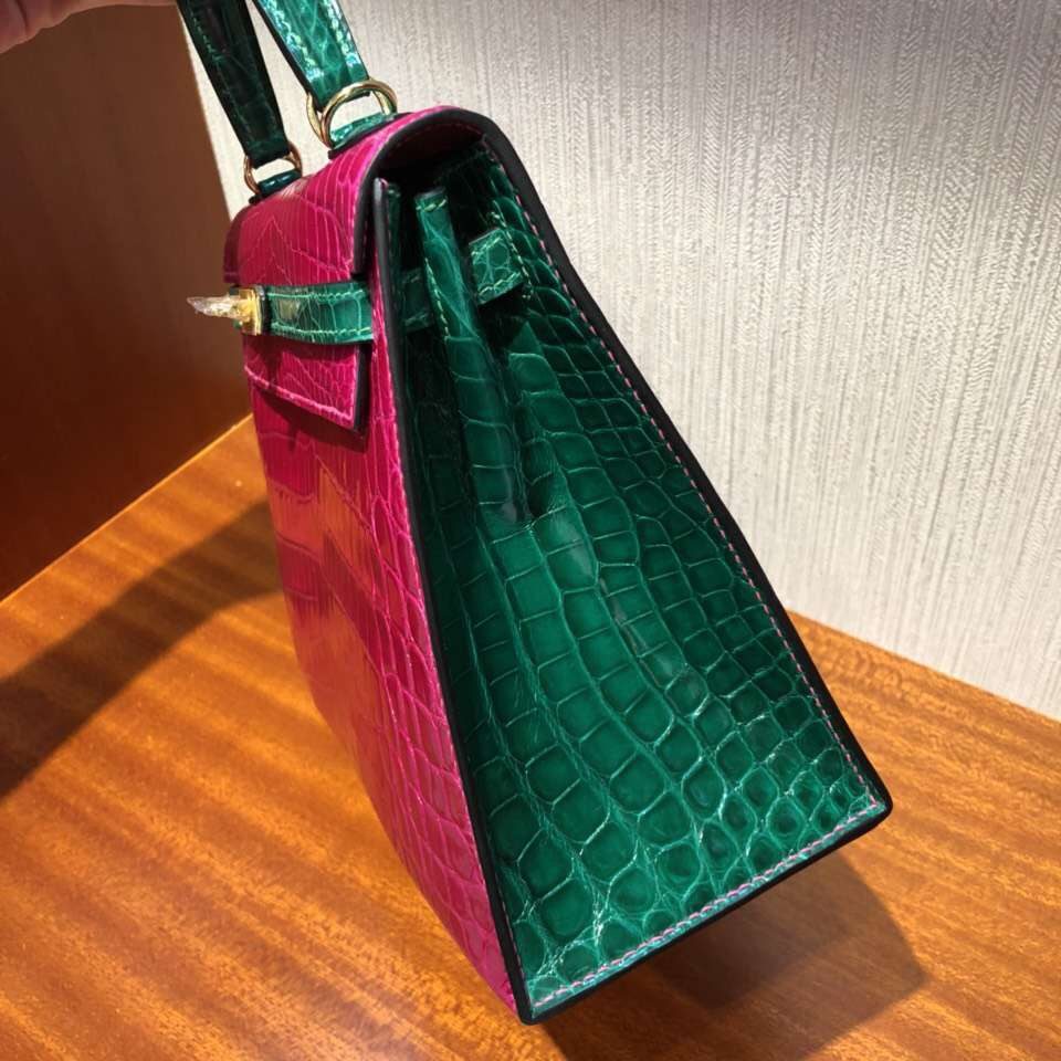 愛馬仕外縫凱莉包 Hermes Kelly 25 J5天方夜譚粉紫/6Q翡翠綠 馬蹄印 金扣