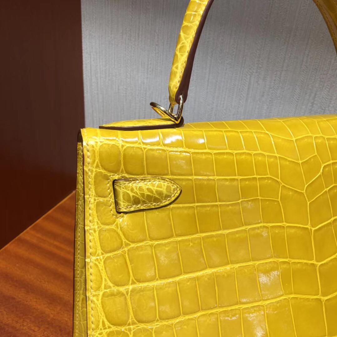 愛馬仕女包凱莉包價格Hermes Kelly 28 9D琥珀黃亮面兩點尼羅鱷魚 金扣