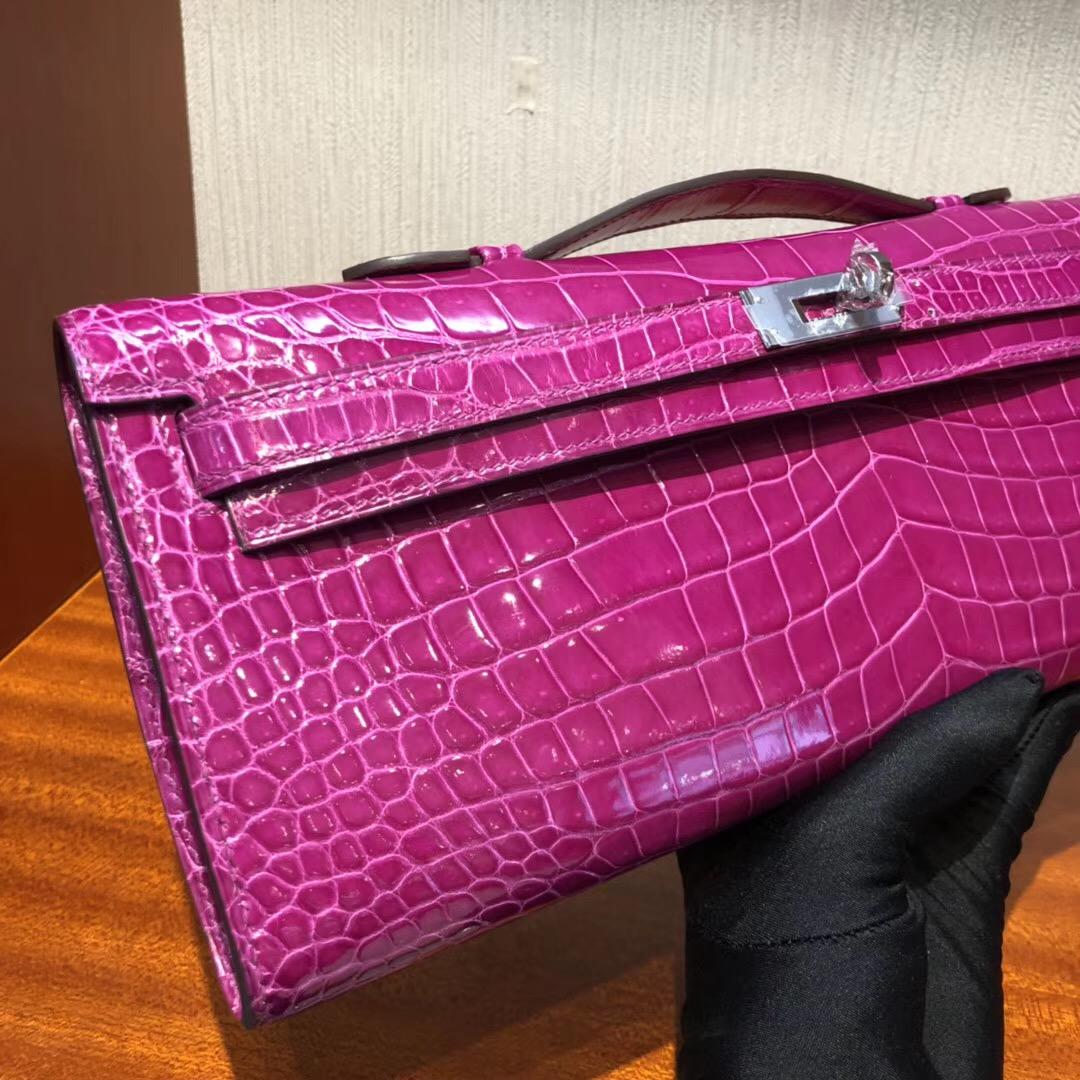 Hermes Kellycut 31cm J5天方夜譚粉紫 亮面倒V 野生灣鱷 完美品相 银扣
