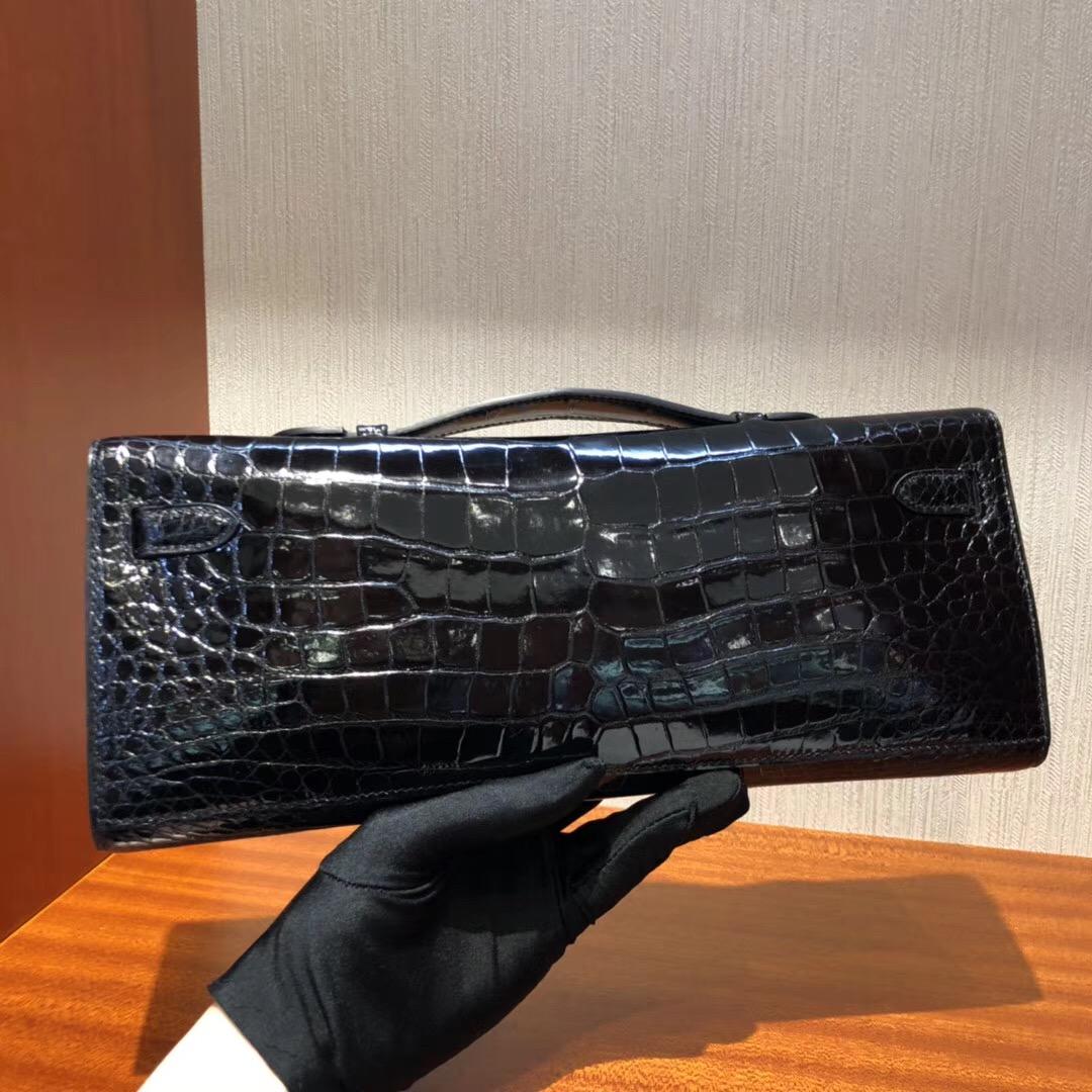 Hermes Kellycut 31cm 亮面倒V 野生灣鱷 CK89黑色 完美品相 银扣