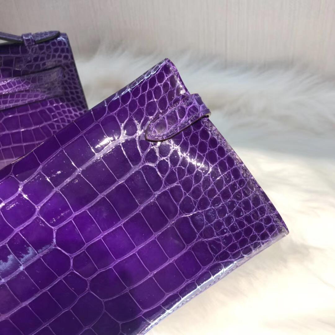 愛馬仕凱莉錢包 Hermes長款錢夾 Kelly Wallet 5L極度紫亮面方塊美洲鱷魚 金扣