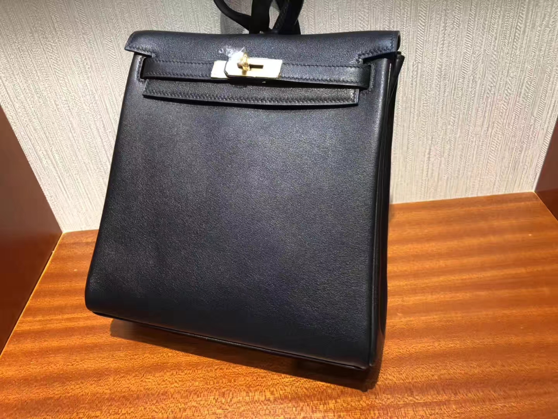 Hermes Swift Kelly Backpack CK89 Nior Hermes ADO Kelly 黑色書包 雙肩包