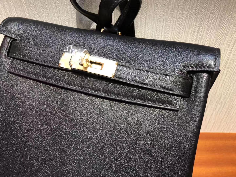 1489d7550953 Hermes Swift Kelly Backpack CK89 Nior Hermes ADO Kelly 黑色書包雙肩 ...