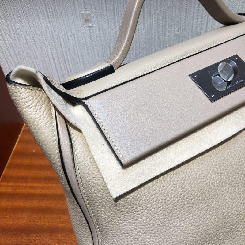 加拿大愛馬仕愛馬仕凱莉包2424 Hermes Kelly 24/24 Bag S2風衣灰 銀扣