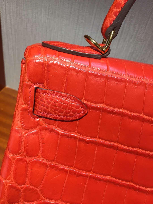 愛馬仕Hermes 凱莉包包Kelly 28cm Bag 8V 罌栗橘 霧面兩點鱷魚 金扣