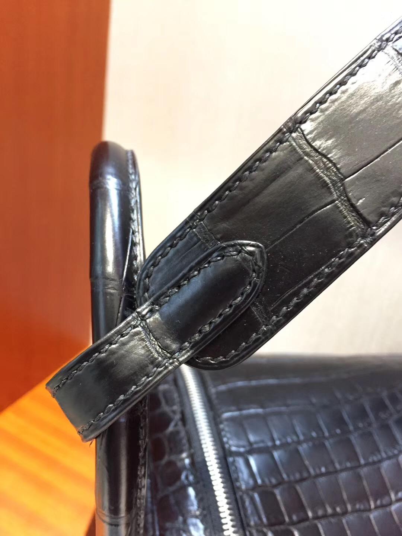 愛馬仕Hermes lindy琳迪包 26cm CK89黑色 霧面兩點鱷魚 銀扣