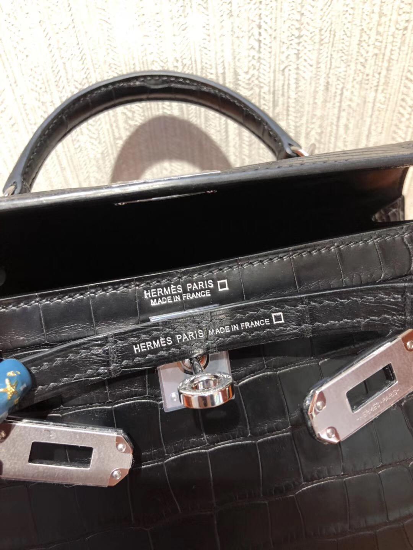 愛馬仕凱莉包2代 Hermes miniKelly二代 CK89黑色 霧面方塊美洲鱷魚銀扣