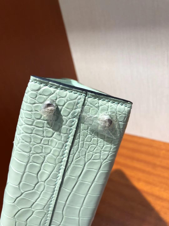 愛馬仕迷妳凱莉包2代 Hermes miniKelly二代 6u新薄荷綠 霧面方塊美洲鱷魚 銀扣
