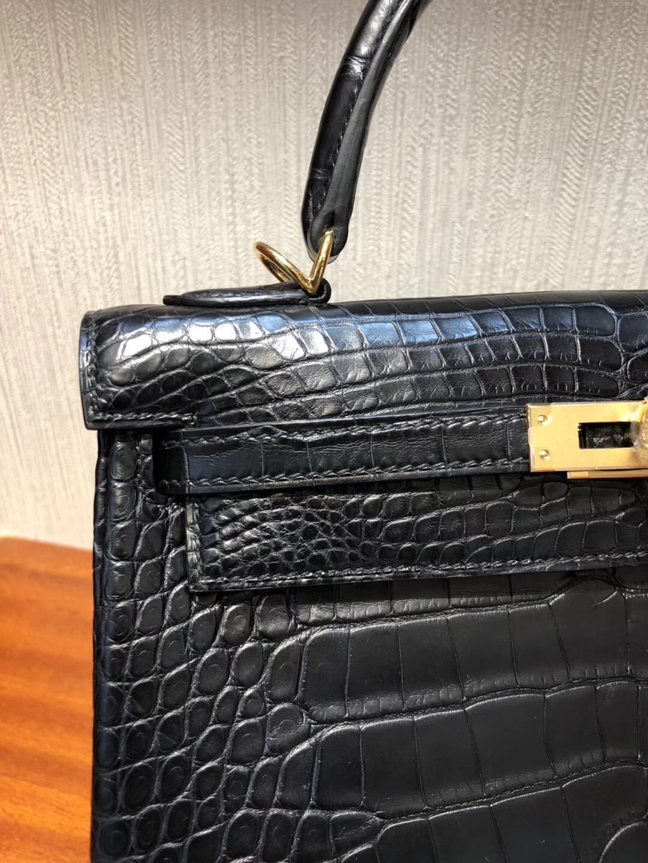 愛馬仕凱莉包包 Hermes Kelly 25cm CK89黑色 霧面方塊美洲鱷魚 完美品相 金扣