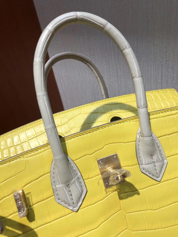 愛馬仕雙拼色鱷魚鉑金包包Hermes Birkin 25 9R檸檬黃/8L奶油白 霧面兩點鱷魚 拉絲金扣