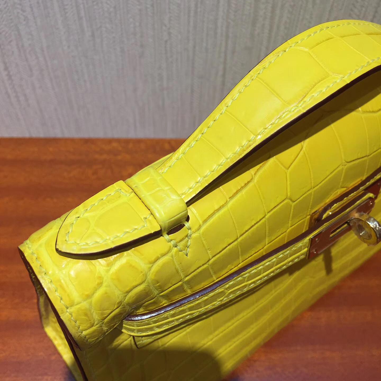 愛馬仕手拿包 凱莉包包 Hermes 9R檸檬黃MiniKelly 22 pochette霧面兩點鱷魚 金扣