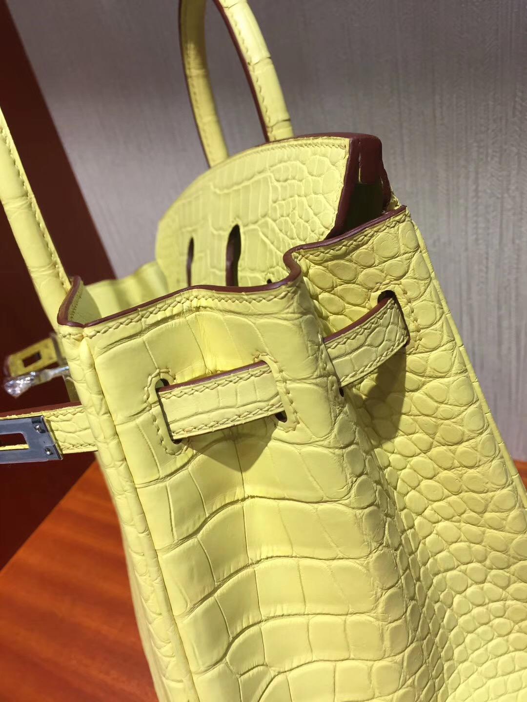 愛馬仕鱷魚鉑金包 雪梨Cherie Hermes Birkin 25cm C9鵝蛋黃 霧面方塊鱷魚銀扣