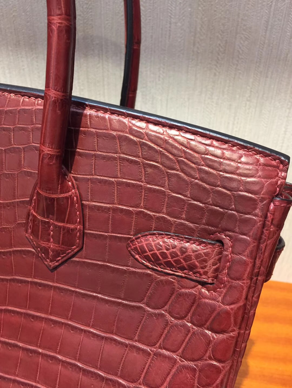 愛馬仕鱷魚皮鉑金包價格 Hermes Birkin 30 Bag CK55愛馬仕紅霧面兩點鱷魚 金扣