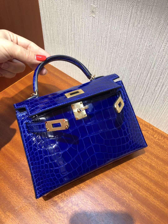 愛馬仕包包 迷妳凱莉包2代 Hermes Minikelly二代 7T電光藍霧面鱷魚皮 手提包