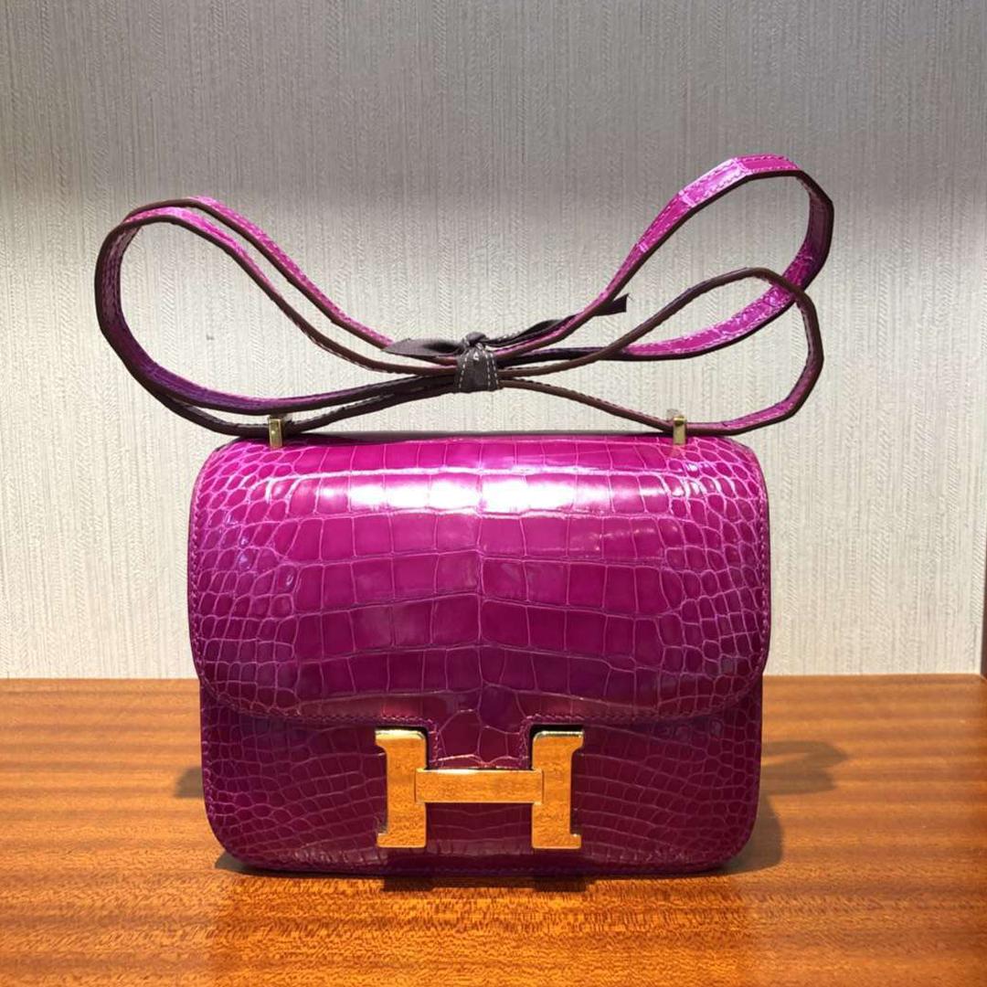 愛馬仕包包Hermes Constance康斯坦空姐包 18cm J5天方夜譚粉紫鱷魚皮 金扣