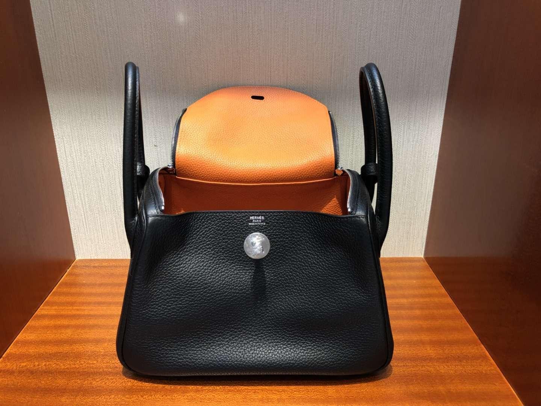 愛馬仕拼色琳迪包 Hermes Lindy 26cm CK89黑色內拼橙色 TC大牛皮 銀扣