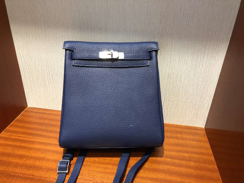愛馬仕凱莉雙肩包 Hermes Kelly Ado Backpack CK73寶石藍 Blue sapphire