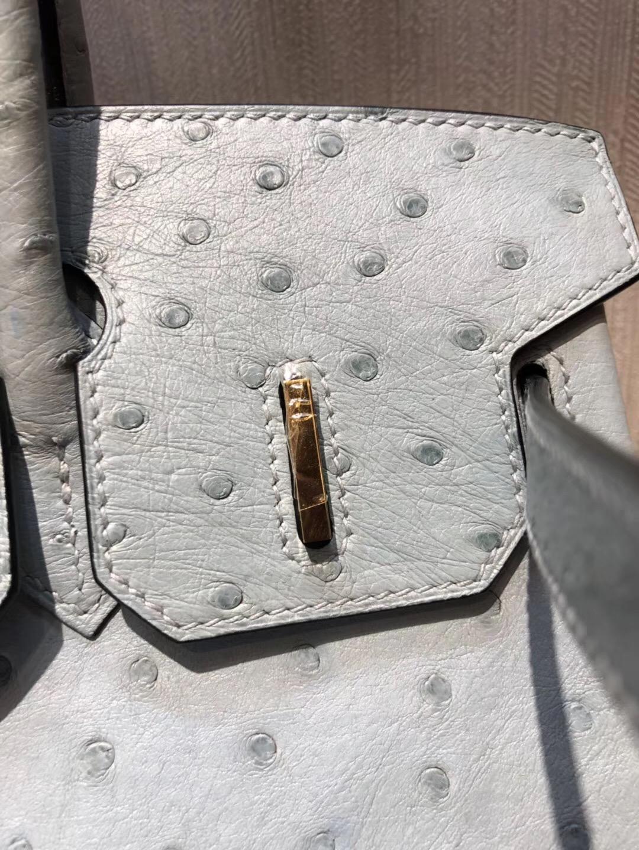 Hermes 鉑金包Birkin 30cm J7亞麻藍 原廠南非KKostrich 鴕鳥皮