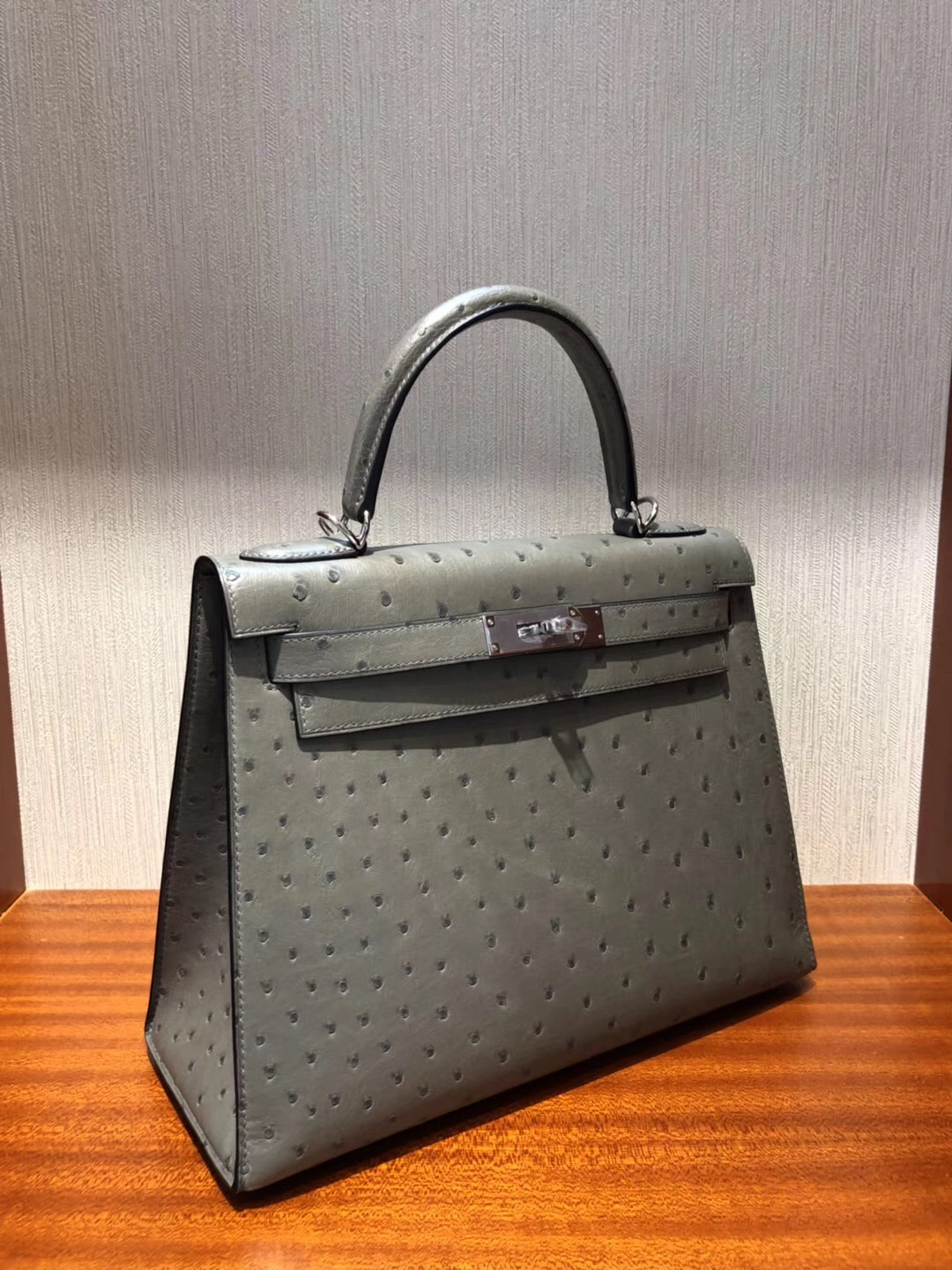 愛馬仕kelly包包價格Hermes Kelly bag 28 8F錫器灰 南非KK鴕鳥皮Ostrich