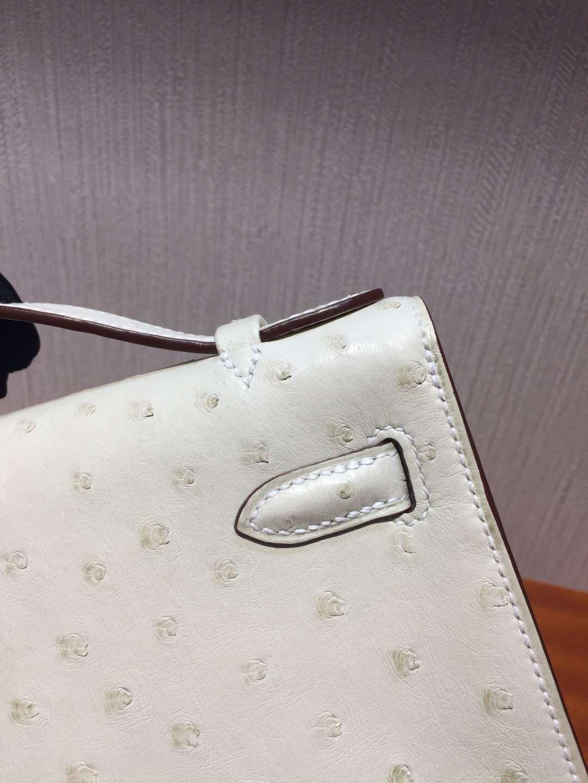 愛馬仕迷你凱莉包一代 Hermes MiniKelly 22 3C羊毛白 pochette手拿包