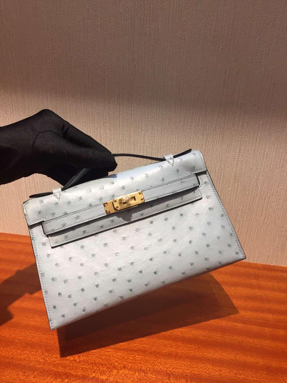 愛馬仕迷妳凱莉包 Hermes MiniKelly 22 J7亞麻藍 pochette手拿包 鴕鳥皮