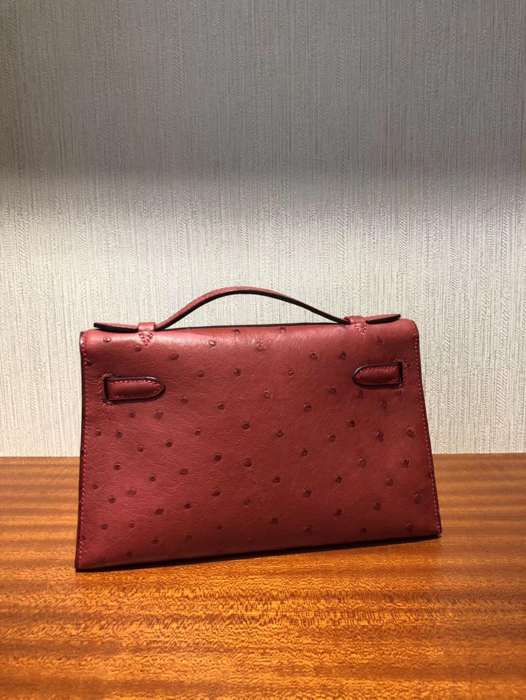 Hermes MiniKelly 22 Q5国旗红 pochette手拿包 Ostrich進口鴕鳥皮