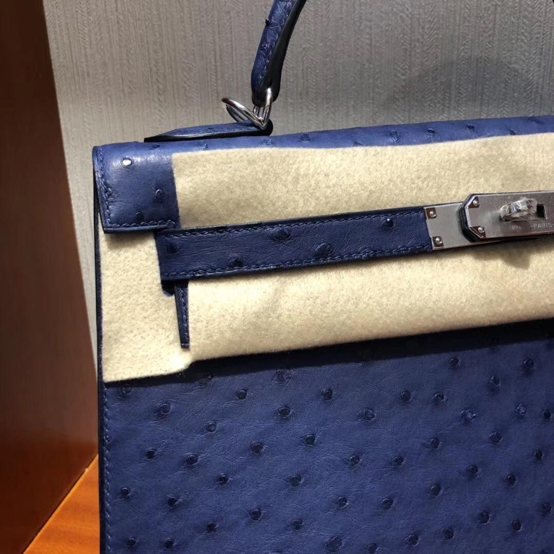 愛馬仕kelly包包價格 Hermes Kelly 32cm bag 7K宝石蓝 鴕鳥皮Ostrich銀扣