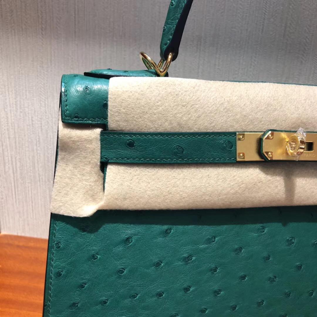 愛馬仕凱莉包包價格Hermes Kelly 32cm bag U4丝绒绿 鴕鳥皮Ostrich 銀扣