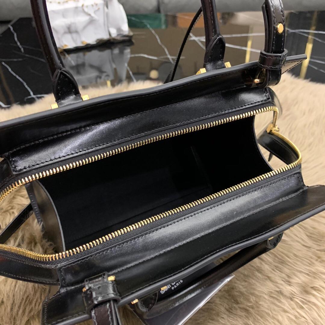聖羅蘭包包官網 YSL包包 UPTOWN 小號鏡面小牛皮 手提袋