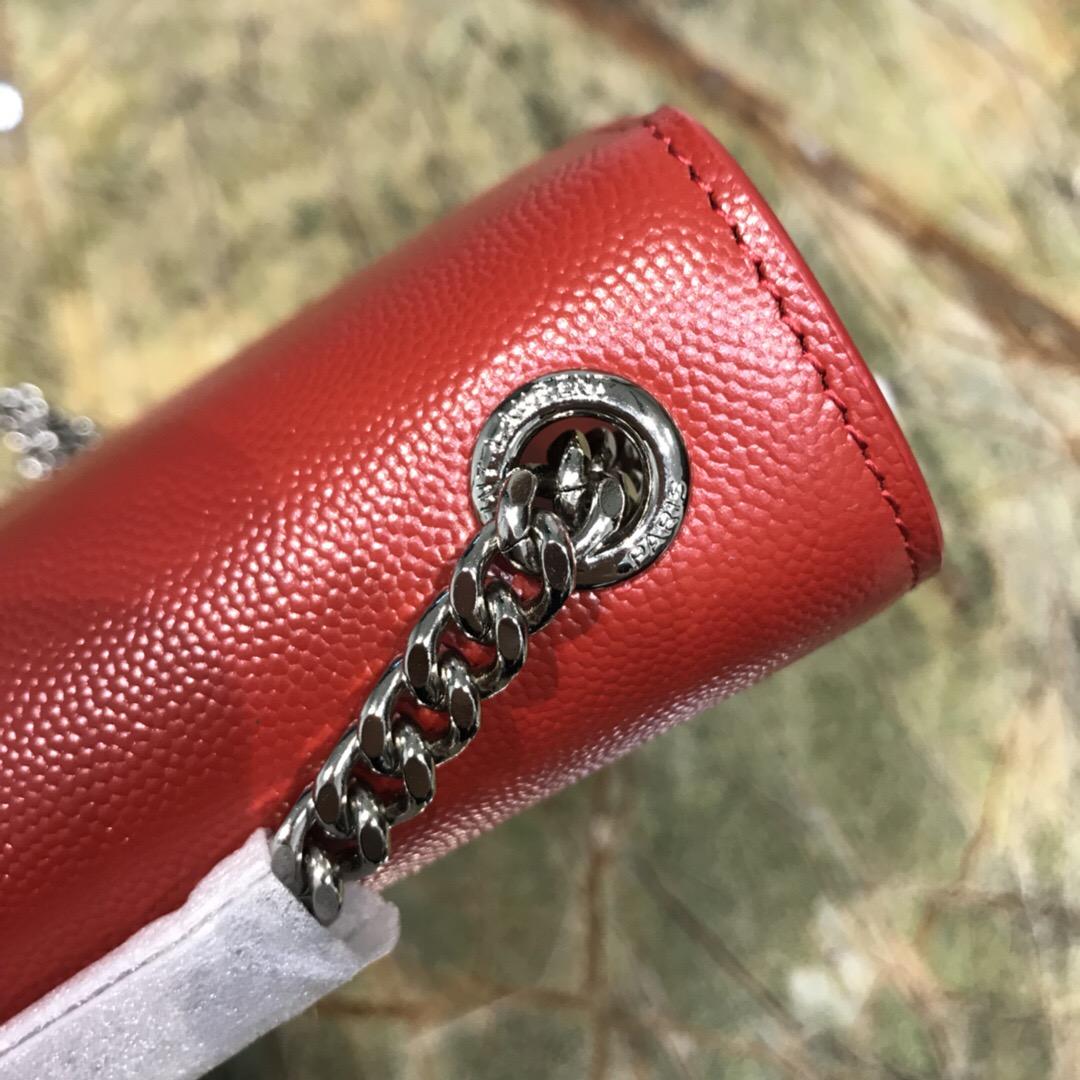 ysl女包價格和圖片 YSL KATE 小號艷紅色魚子醬紋理真皮流蘇穗鏈條包