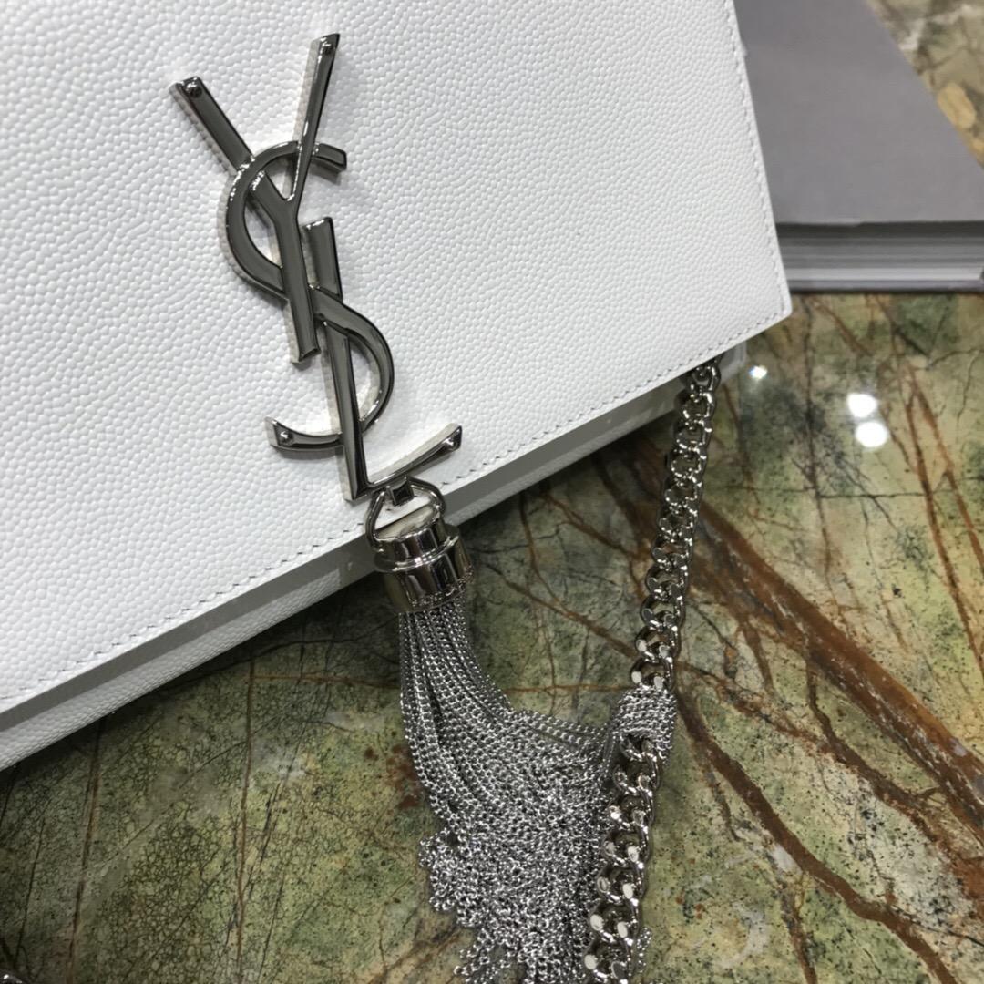 聖羅蘭官網包包圖片價格 YSL KATE 小號白色紋理真皮流蘇穗鏈條包