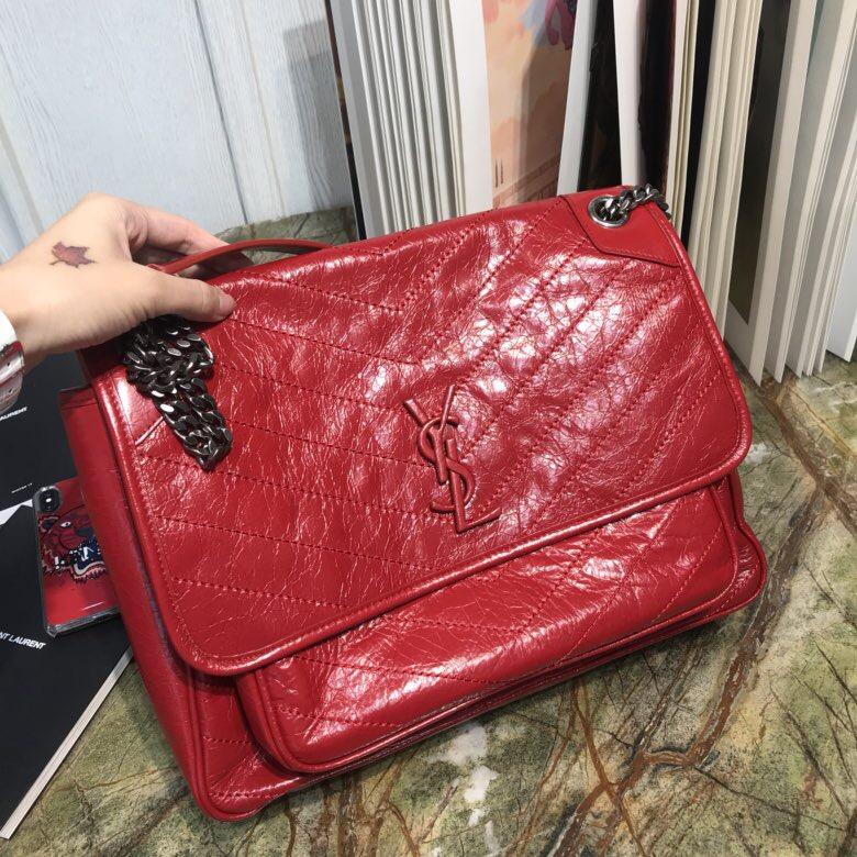 聖羅蘭包包臺灣官網 YSL Niki 中号 大号 正大红色褶皺絎縫真皮鏈條包
