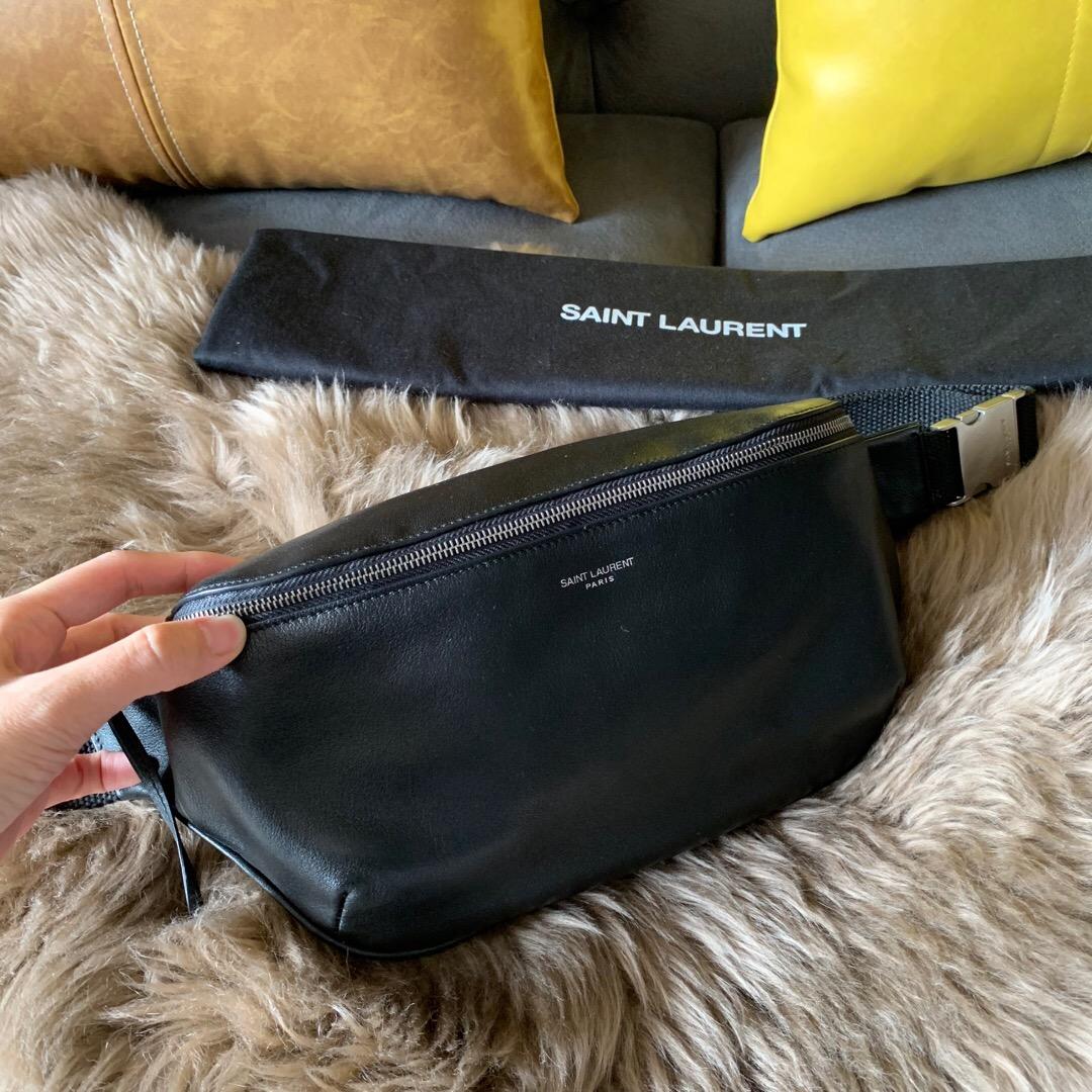 ysl包包香港專賣店 经典黑色软皮腰包 聖羅蘭胸包 5056710X52E1000