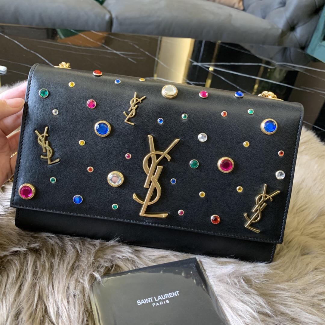 聖羅蘭包包官網 YSL KATE 中號彩色水晶飾釘黑色真皮鏈條包