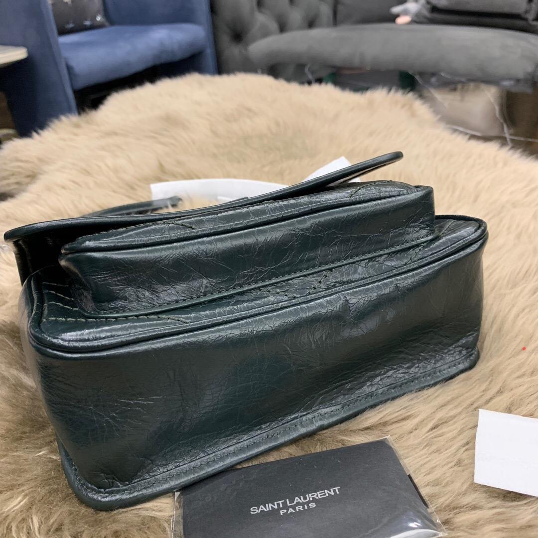 聖羅蘭官網包包圖片價格 YSL BABY NIKI 褶皺絎縫 深墨綠 小牛皮真皮鏈條包