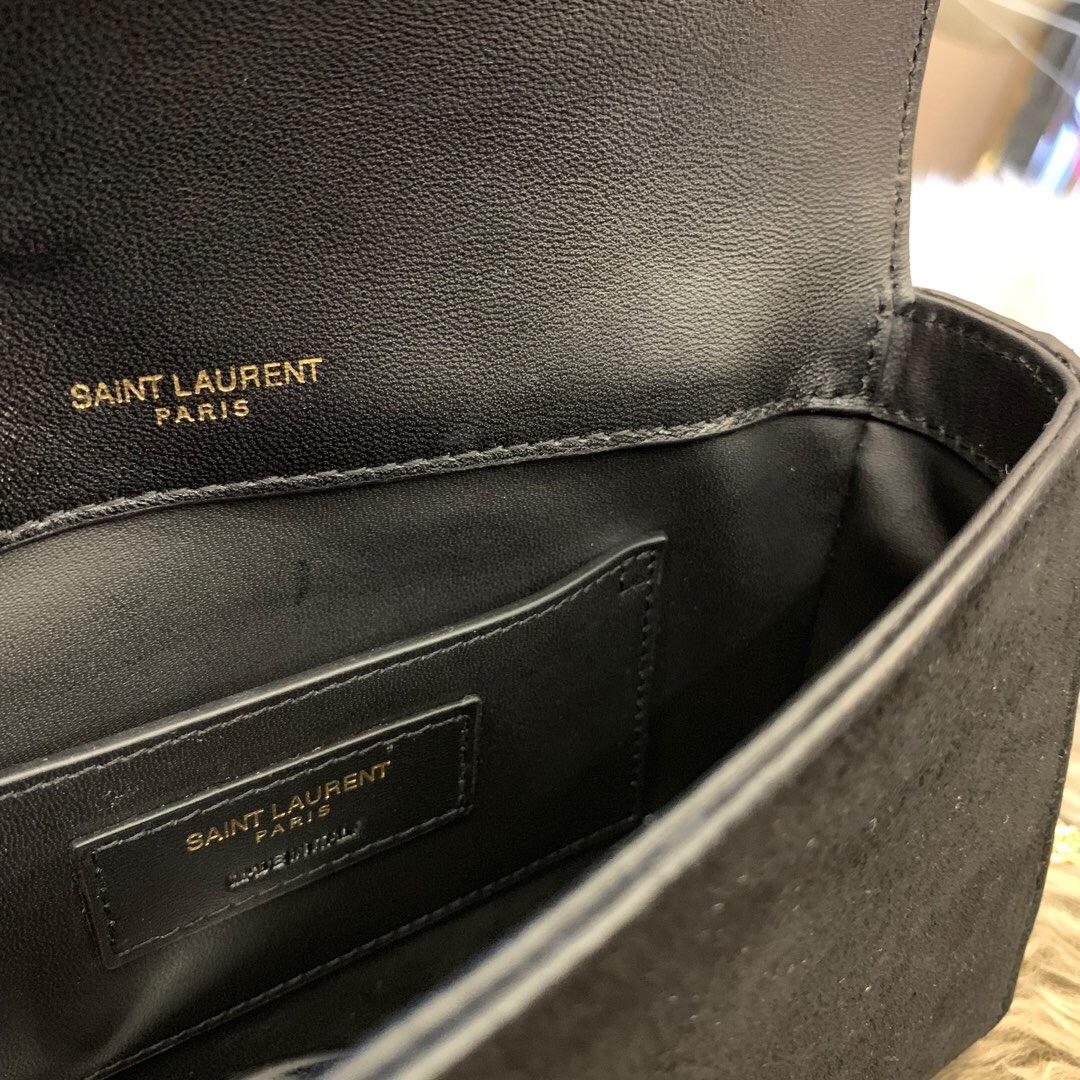 聖羅蘭臺灣官網 YSL包包 KATE小號黑色麂皮金色鏈條包