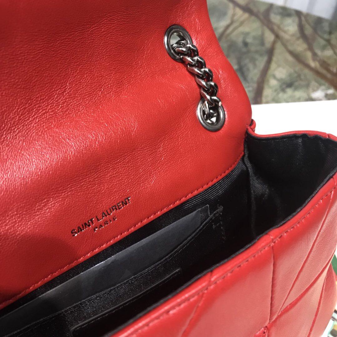 聖羅蘭鏈條包官網 YSL包包官網 MINI AMIE 小號紅色拼接真皮包