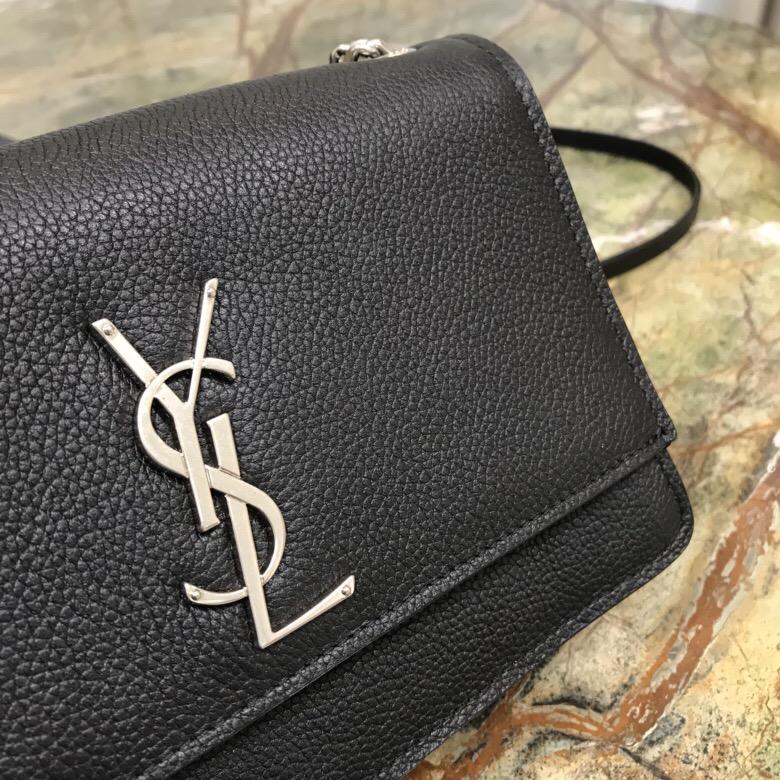 ysl包包香港官網 聖羅蘭包包 SUNSET 小號價格 黑色顆粒紋理真皮軟包