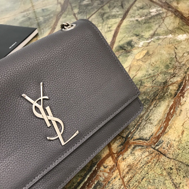 ysl包包香港官網 聖羅蘭 SUNSET 小號價格 灰色小牛皮顆粒紋真皮軟包