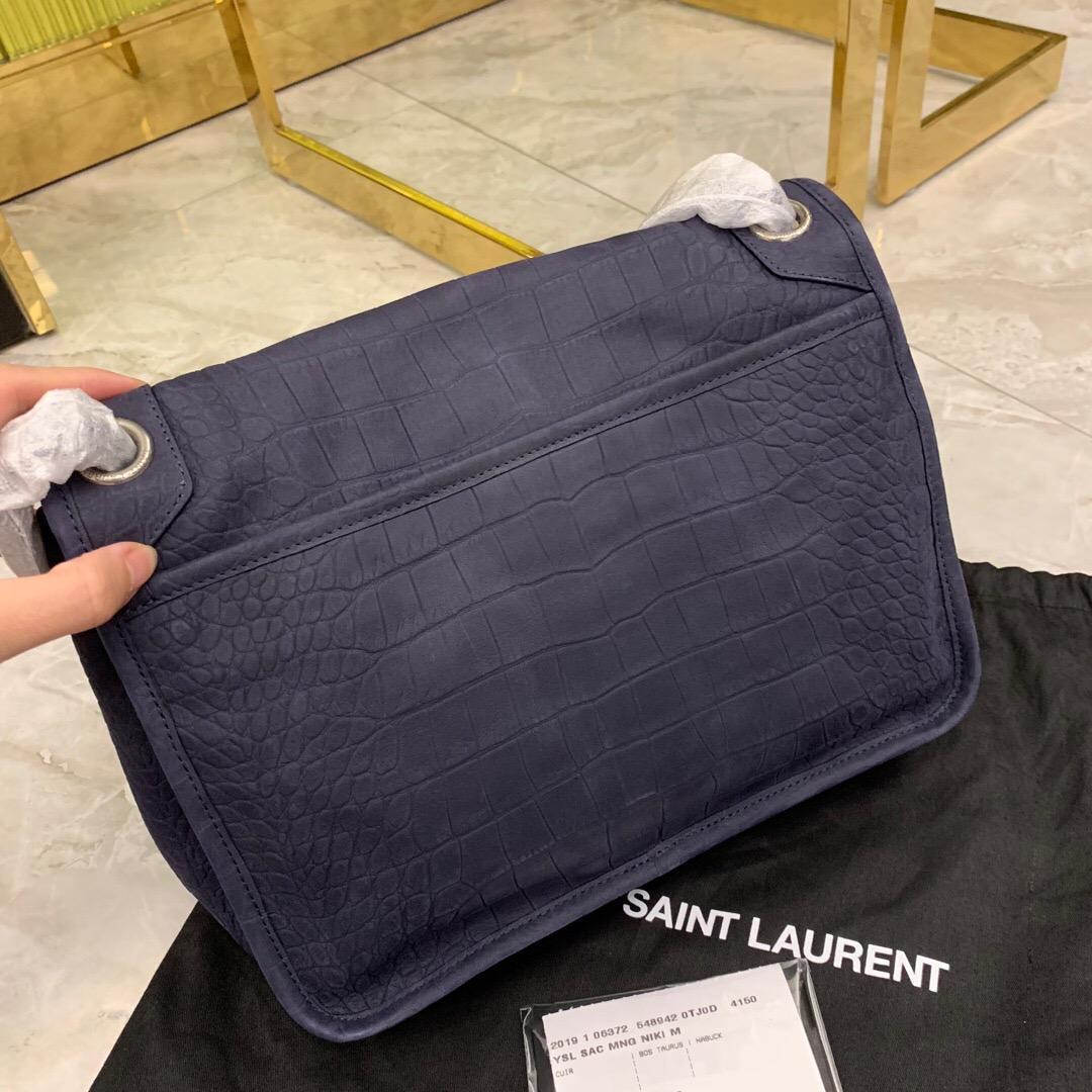 聖羅蘭 YSL NIKI 中號鱷魚紋壓花蓝色麂皮 單肩斜跨鏈條包