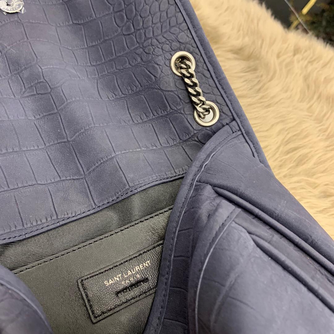 聖羅蘭 YSL NIKI 迷你號鱷魚紋壓花蓝色麂皮 單肩斜跨兩用鏈條包