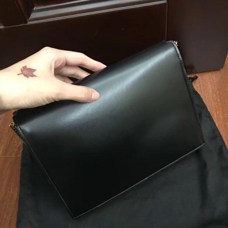 圣罗兰包包香港官網 YSL CASSANDRA 黑色小牛皮真皮鏈條包 532750