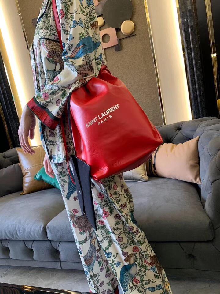 聖羅蘭官網包包 YSL TEDDY 紅色真皮包 SAINT LAURENT PARIS 壓花手拿包