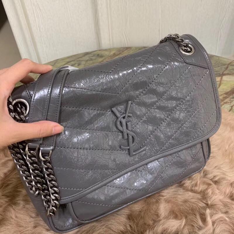 圣罗兰包包498894 YSL NIKI 中號 深灰色 做舊褶皺霧絎縫皮革鏈條包