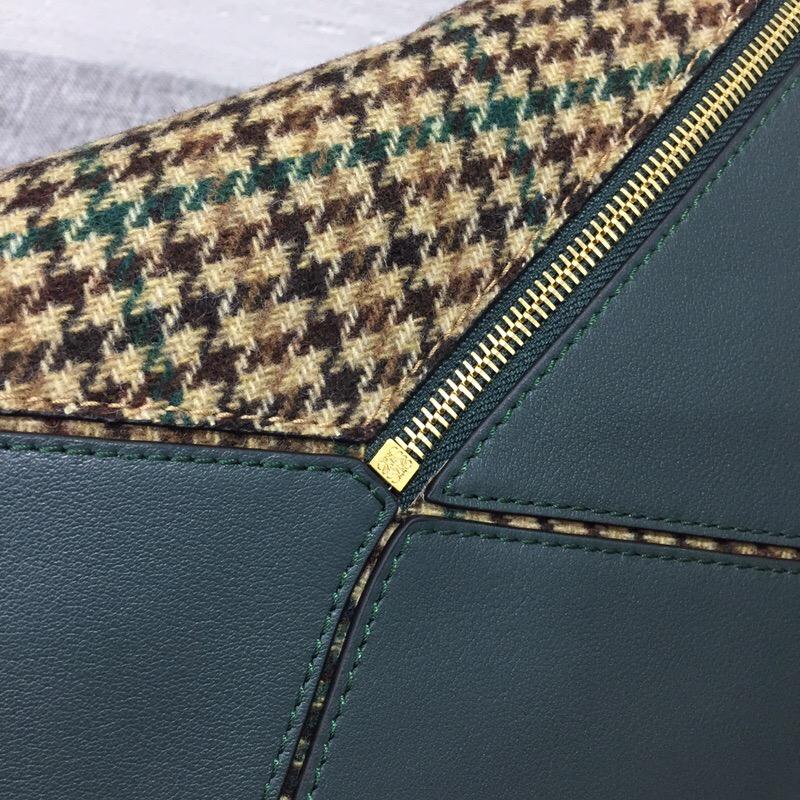 羅意威女包價格 Loewe Puzzle tweed bag 格子羊毛花呢和經典小牛皮拼圖包包